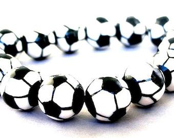 6 soccer ball beads, 12mm soccer porcelain beads, black and white