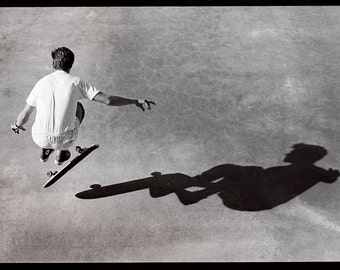 Rodney Mullen Eighties Skateboarding Photo - 24X36 - Freestyle Shadow At Del Mar Skateboard Ranch 80s Skate Photo