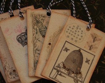 6 vintage inspired bee tags, with crystal rhinestones.