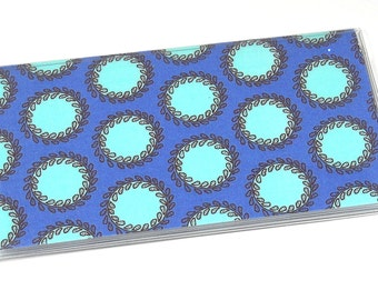Checkbook Cover Amy Butler Soul Blossoms Periwinkle Laurel Dots