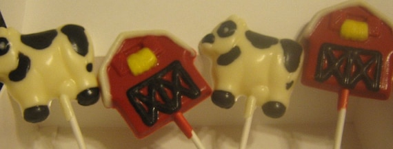 12 Large barn and cow lollipop suckers farm party favors