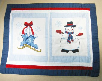 Set of 2 Quilted Pillow Shams Snowman Ice Skates, Vintage Decorative Pillow Cover, Sham Pillow Case