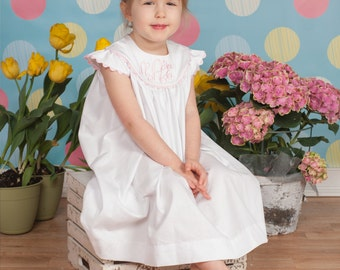White Pique Dress with Angel Sleeves, Choose Trim Color