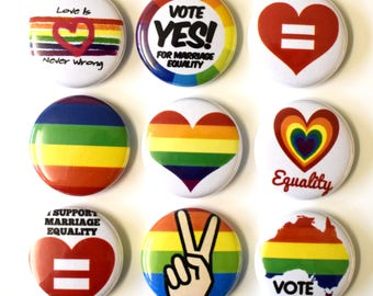 Marriage Equality Badges Buttons Pins x 9 Gay Pride Equal Love