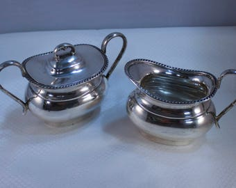 1950 Edward Viners Sheffield England Sterling Covered Sugar Bowl and Creamer Set