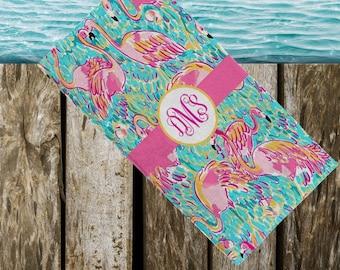 Lilly Inspired Flamingo Beach Towel Beach Towel for Her monogrammed beach towel  monogrammed towel