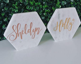 Hand Lettered Marble - White
