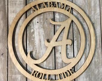 Unfinished Alabama Roll Tide Wood Sign
