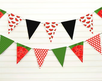 Watermelon Banner - Watermelon Pennant - Watermelon Party - Watermelon Birthday -Printable Watermelon Decor - Watermelon Bunting - Printable