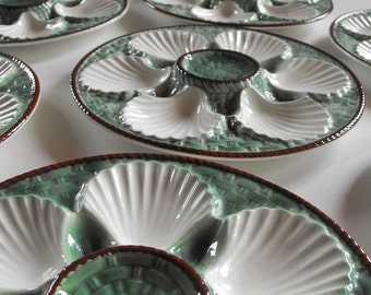 RESERVED FOR MARIA 6 French Vintage Oyster Plates Rare  in Barbotine Green and White
