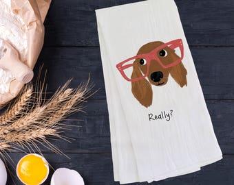 Personalized Dachshund Tea Towel (FREE SHIPPING), 100% Cotton flour sack towel, Dachshund Tea Towel, Dachshund Gift, Dachshund Dish Towel