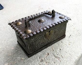 Vintage wood box iron handmade
