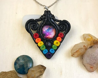 Galactic Rainbow Pendant, Polymer Clay Necklace