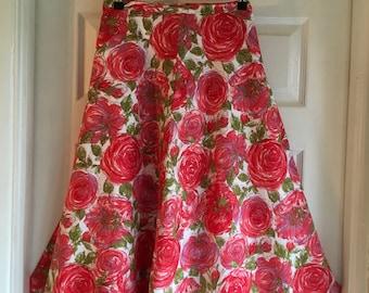Vintage Laura Ashley Floral Print Cotton Summer Skirt Size US 10 - UK 14