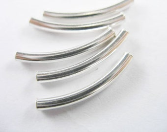 10 of 925 Sterling Silver Curve Beads 2.5x20 mm. :th1580