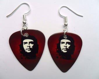 Handmade  Che Guevara Guitar Pick // Plectrum Earrings