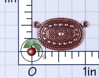 Oval Connectors, Necklace Links, Necklace Connector, Bracelet Connector, Bracelet Links, Copper Ox Plated Brass, 4 Pcs, 1323co4