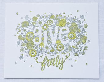 "Give Freely 8""x10"" Letterpress Print"