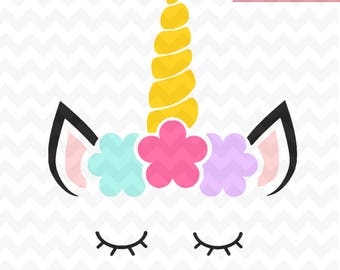 Unicorn SVG, Unicorn head Svg, Unicorn flower svg, Unicorn Face SVG, Cute Unicorn SVG, Cricut, Silhouette Cut File