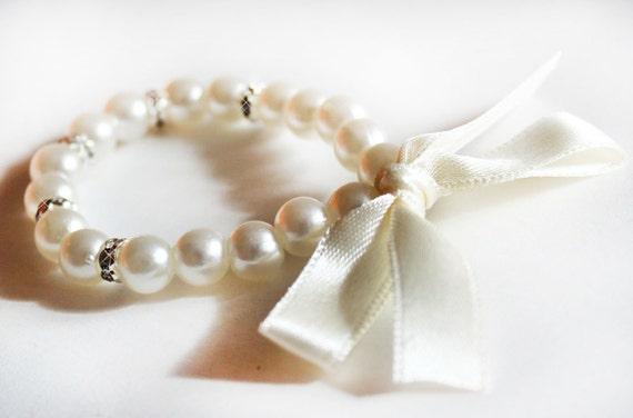 Ivory flower girl bracelet children bracelet kids pearl