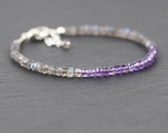 Amethyst & Labradorite Beaded Bracelet in Sterling Silver, Rose or Gold Filled. Dainty Gemstone Stacking Bracelet. Delicate Thin Bracelet