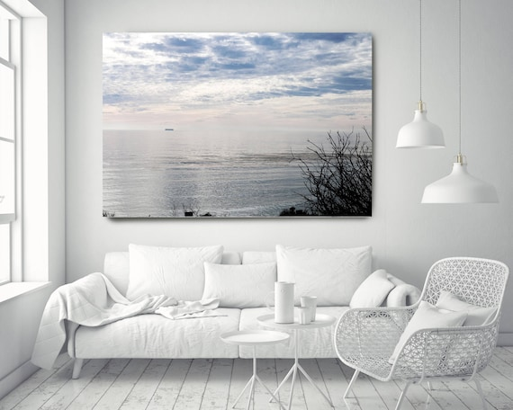 """Silver Ocean 14. Extra Large Water Canvas Art Prints up to 72"""", Seascape Blue Pink Water Photography Print by Irena Orlov"""