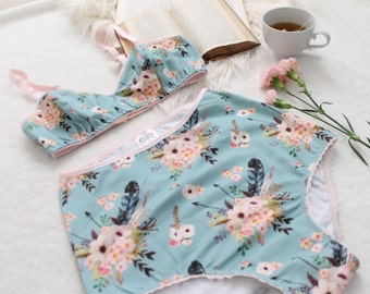 Cotton Floral High Waist Lingerie Set 'Bows and Arrows' Soft Blue and Pink Bralette and Underwear Handmade to Order
