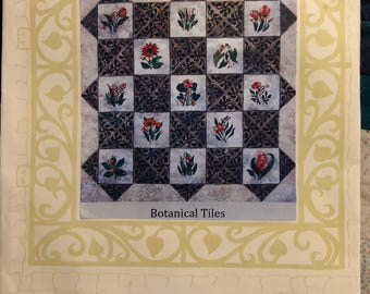1997 Dinah Jeffries  Garden City Gateworks Botanical Tiles applique quilt pattern