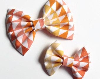Triangles Hair Bow - Fabric Hair Bow - Geometric Hair Bow - Orange Hair Bow - Yellow Hair Bow - Non Slip Hair Bow - Triangles Hair Clip