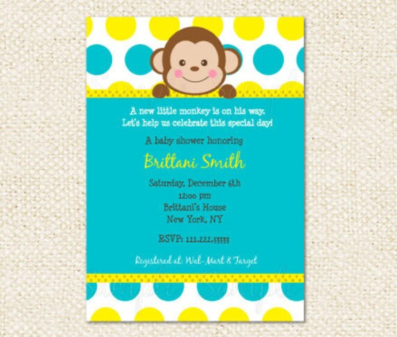 Mod monkey baby shower invitations filmwisefo Choice Image