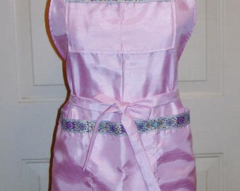 Wedding Dance Apron - Custom Order Shantung with Embroidered Trim Bib Apron made by Jane Ellen