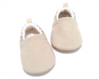 Tan Baby Shoes, Soft Sole Baby Shoes, Gender neutral Baby Gift, Tan Toddler slippers, Baby Shower Gift, Tan Baby booties