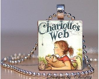 Charlottes Web Scrabble Necklace