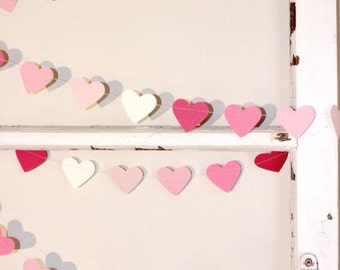 Paper Heart Garland. Pink Ombre. Wedding - Engagement - Sweet 16 - Home Décor - 21st - Table Decoration - Baby Nursery - Photo Prop.