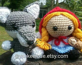 Little Red Riding Hood & The Big Bad Wolf  Inspired Fathead Amigurumi Plush Doll Set - Baby Big Head Dolls
