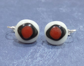 Clip On Earrings, Red White and Black, Clip On Jewelry, Post Clip Earings, Fused Glass Jewelry - Acadia --6