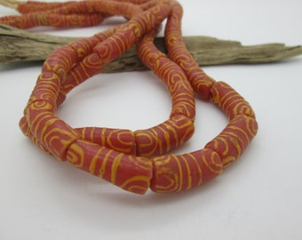 Orange Red African Sandcast Glass Large Tube Bead, 20-24mm) (15)