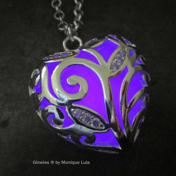 USA Made Heart of Winter Frozen Forest Violet Glow in the Dark Necklace Free UV Light