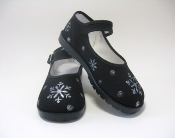 Snowflake Shoes, Winter Snow Theme, Hand Painted Black Mary Jane's For Baby and Toddler
