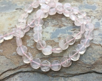 Rose Quartz Coin Beads, Rose Quartz Beads, 6mm Rose Quartz Beads, 6mm approx, 14 inch strand