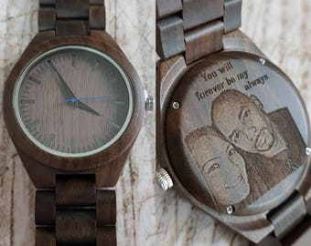 valentines day, personalized engraved mens wooden watch, wood watch, groomsmen gifts, fathers day gift, wooden watches for men, mens gift