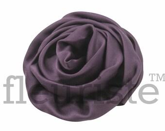 PLUM Satin Rosette, Rolled Rosette, Fabric rose, Rolled Rosette, Wholesale Flower, Fabric Flower, Wedding Flower, Flower Embellishment