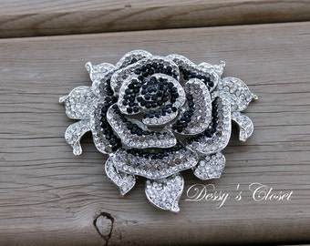 Large Sliver Flower Brooch with Black and Clear Stones
