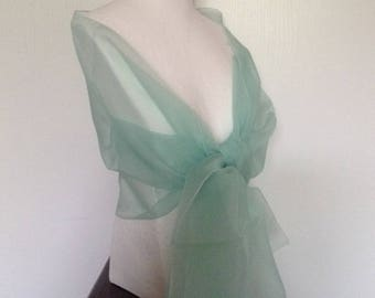 Wedding shawl / stole ceremony organza lagoon