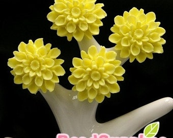 CA-CA-01561- Bright Yellow chrysanthemum Cabochon, 6 pcs