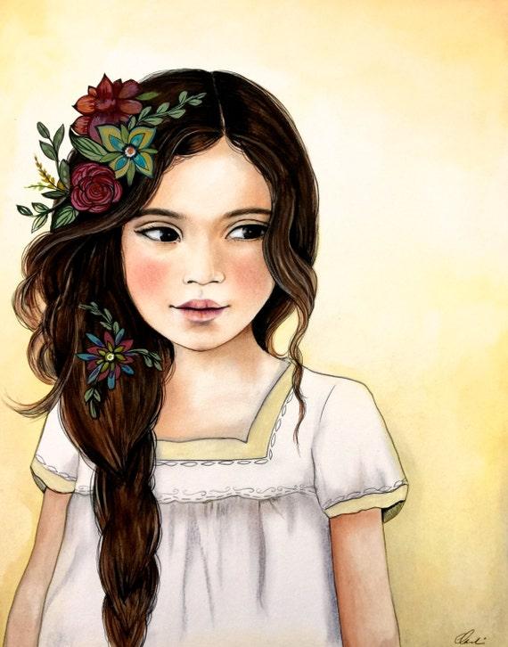beautiful child with yellow background art print