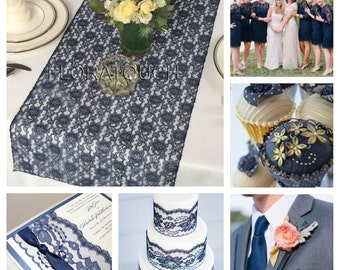 Navy Blue Lace Table Runner Wedding Table Runner