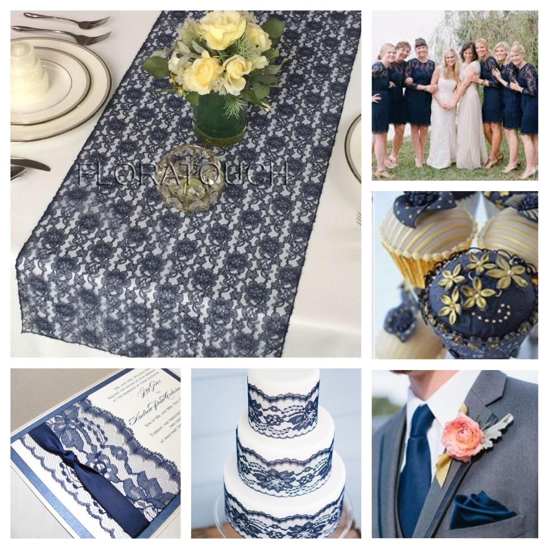Navy Blue Lace Table Runner Wedding Table Runner