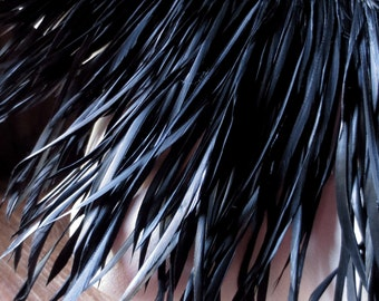 25 BLACK Goose Biot Feathers in Black for Bridal, Millinery, Costumes, Masks, Tribal Fusion, Steampunk
