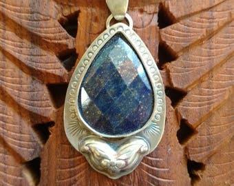Restless Wind - Lapis and Sterling Silver Handmade Artisan Silversmith Pendant